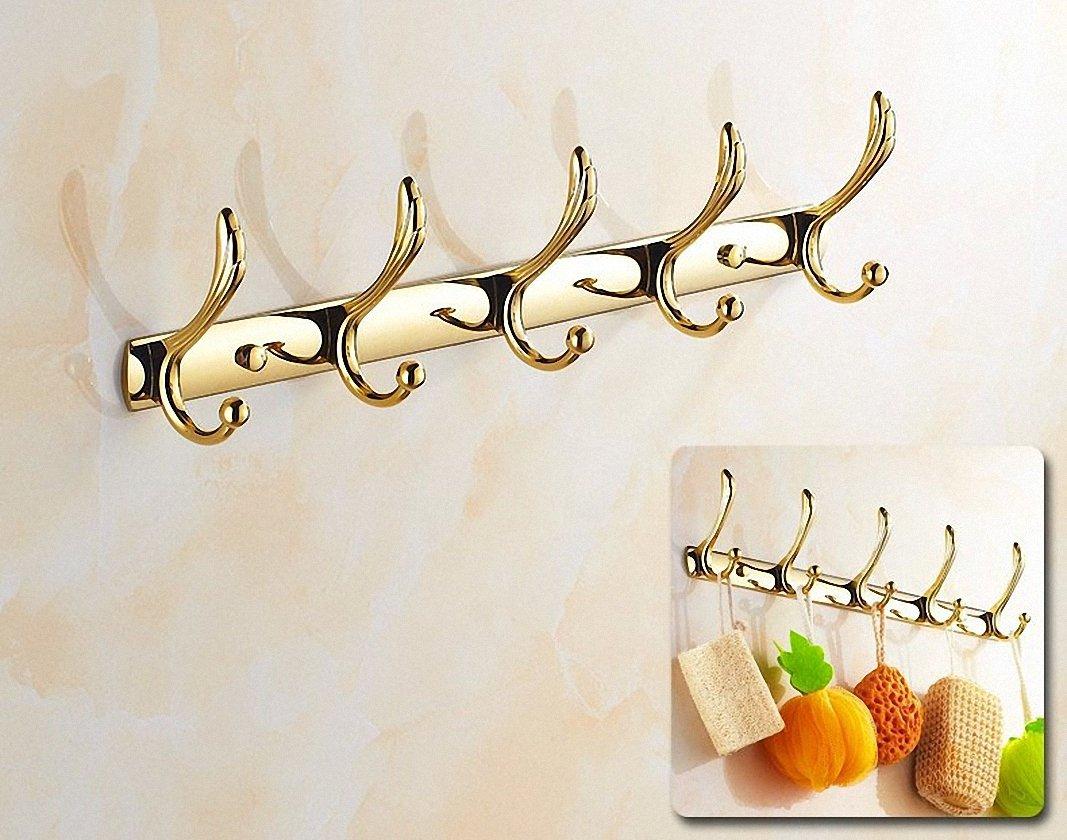 700Brass Coat Hook Rack 5-Hook Design for Hotel/Motel/Home, Solid Metal, Polished Gold, Wall Mounted, Bathroom/Kitchen Hardware Hat Towel Hook Rail