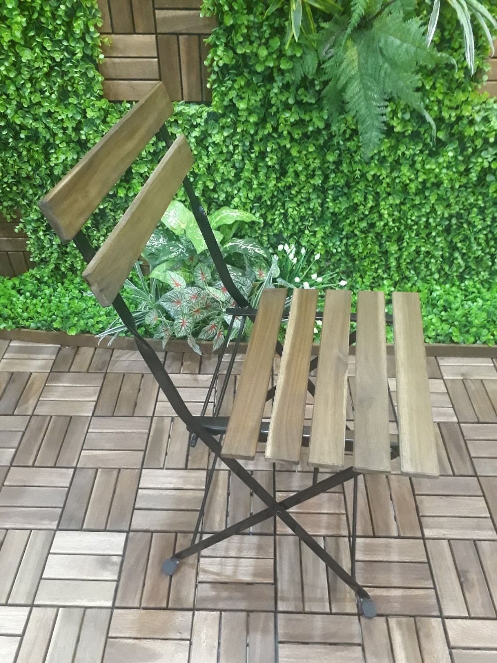 Outdoor folding colorful chair acacia wood metal frame