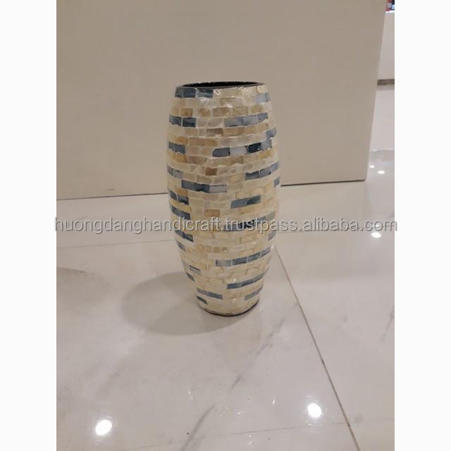 Stripped seashell design lacquer vase, hight quality handmade vase from vietnam