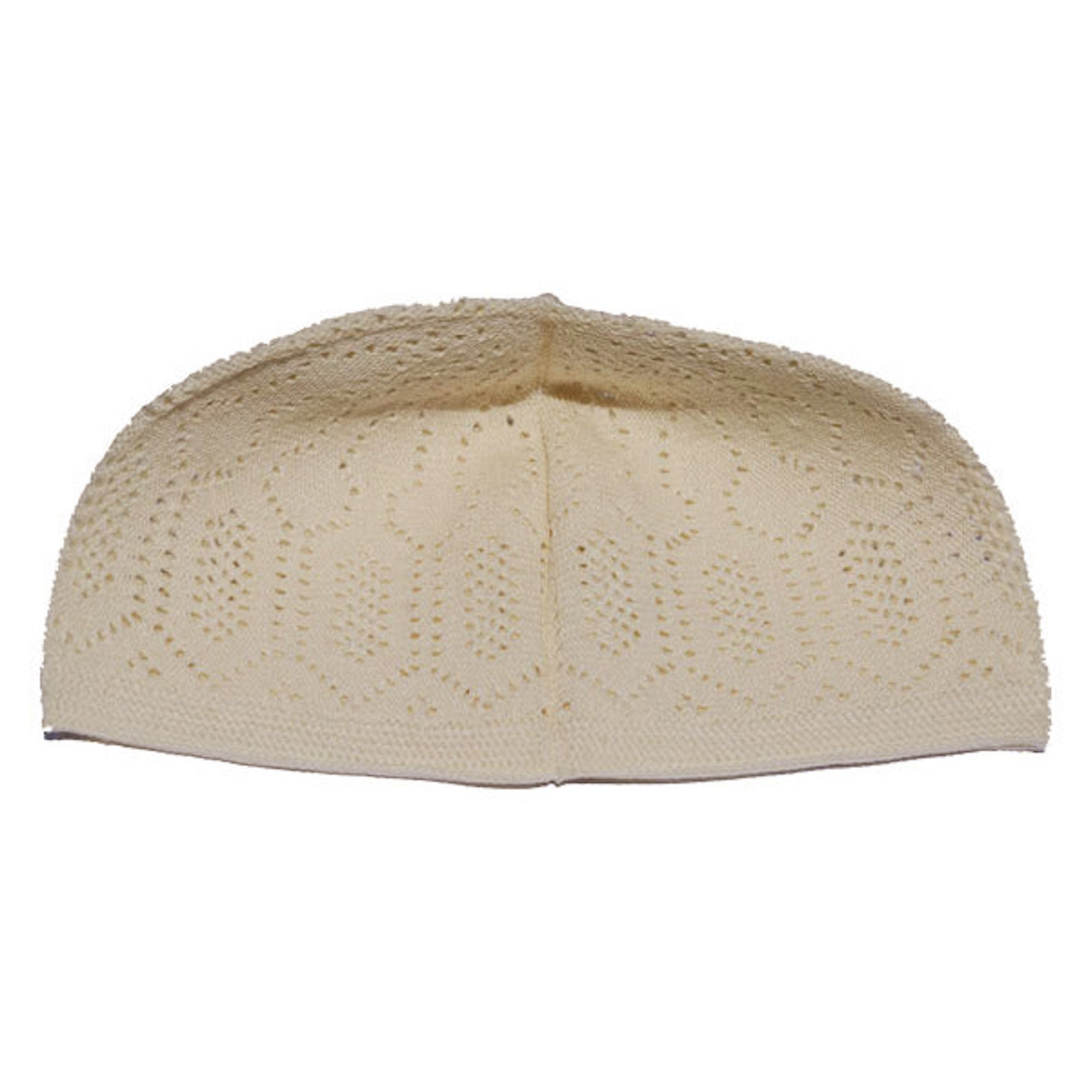 e2d93985370 Get Quotations · Plain Cream Cotton Open-Knit Turkish Muslim Islamic Kufi  Hat Taqiya Takke Kofia Skull Cap