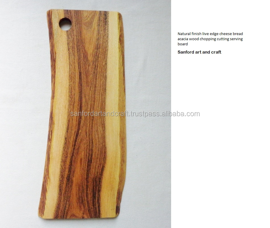 2017 Natural finish live edge cheese bread acacia wood wooden chopping cutting serving board, tray butcher block