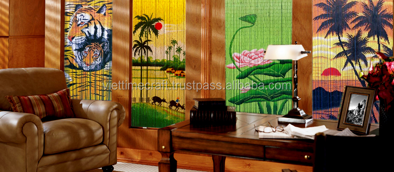 HOT sale bamboo beaded painted door curtain/ bamboo door curtain wholesale
