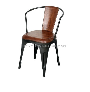Vintage Metal Leather Cafe Restaurant Chair Modern Iron Dining