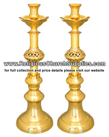Altar Candlestick - Altar Candle in Brass catholic church supplies