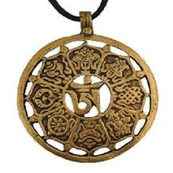 Brass Tibetan Buddhist 8 Lucky Symbols Disc Pendant Buy Lucky
