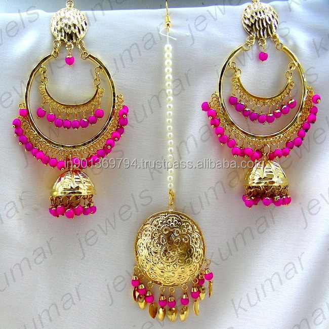 d846ca3807 Pink Color Gold Plated 22kt Chittrai Work Indian Golden Traditional Jadau  Beaded Double Hoop Style Chandbala Earrings