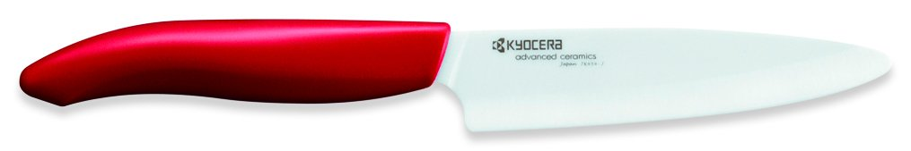 Kyocera Advanced Ceramic Revolution Series 4.5-inch Utility Knife, Red Handle, White Blade