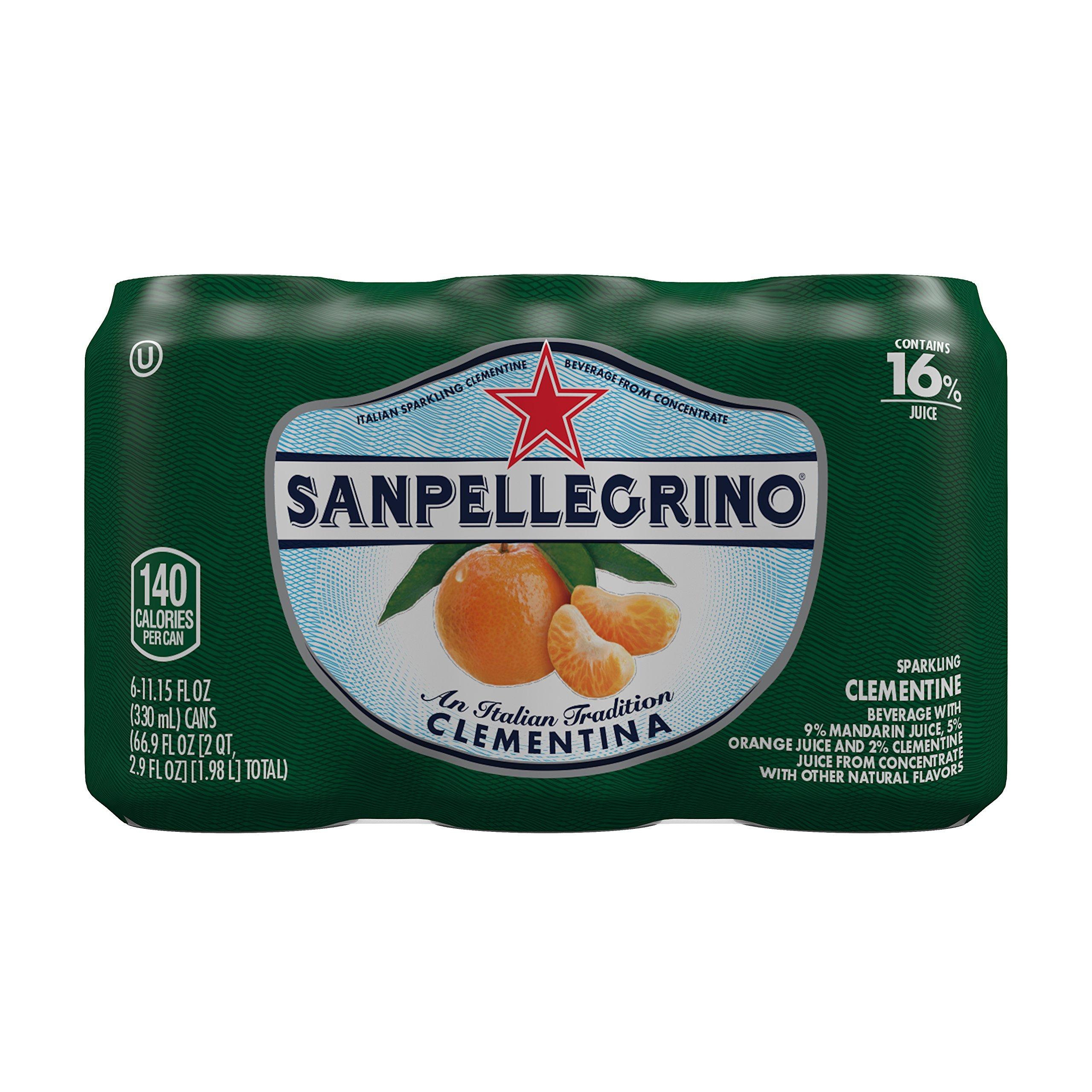 Sanpellegrino Clementine Sparkling Fruit Beverage, 11.15 fl oz. Cans (6 Count)