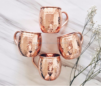 moscow mule copper mugs set of 4 | 100% solid copper moscow mule mugs