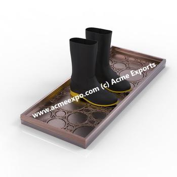 Copper Antique 4 Pair Storage Metal Boot Tray