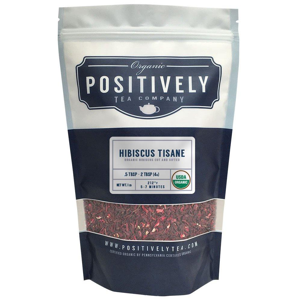Organic Hibiscus Tisane Herbal Tea, Loose Leaf Herbal Tea, Bulk 1 Pound Bag, Positively Tea LLC. (1 Lb.)