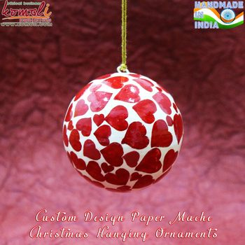 Red Hearts Hand Painted Indian Style Paper Mache Christmas Ornaments ...