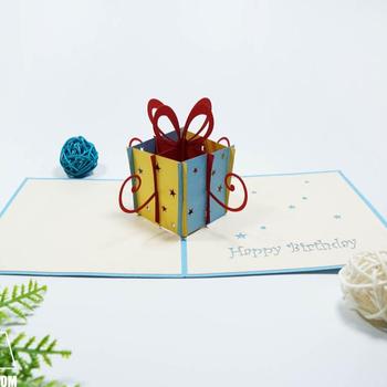 Gift Box Happy Birthday Greeting Card 3D Pop Up