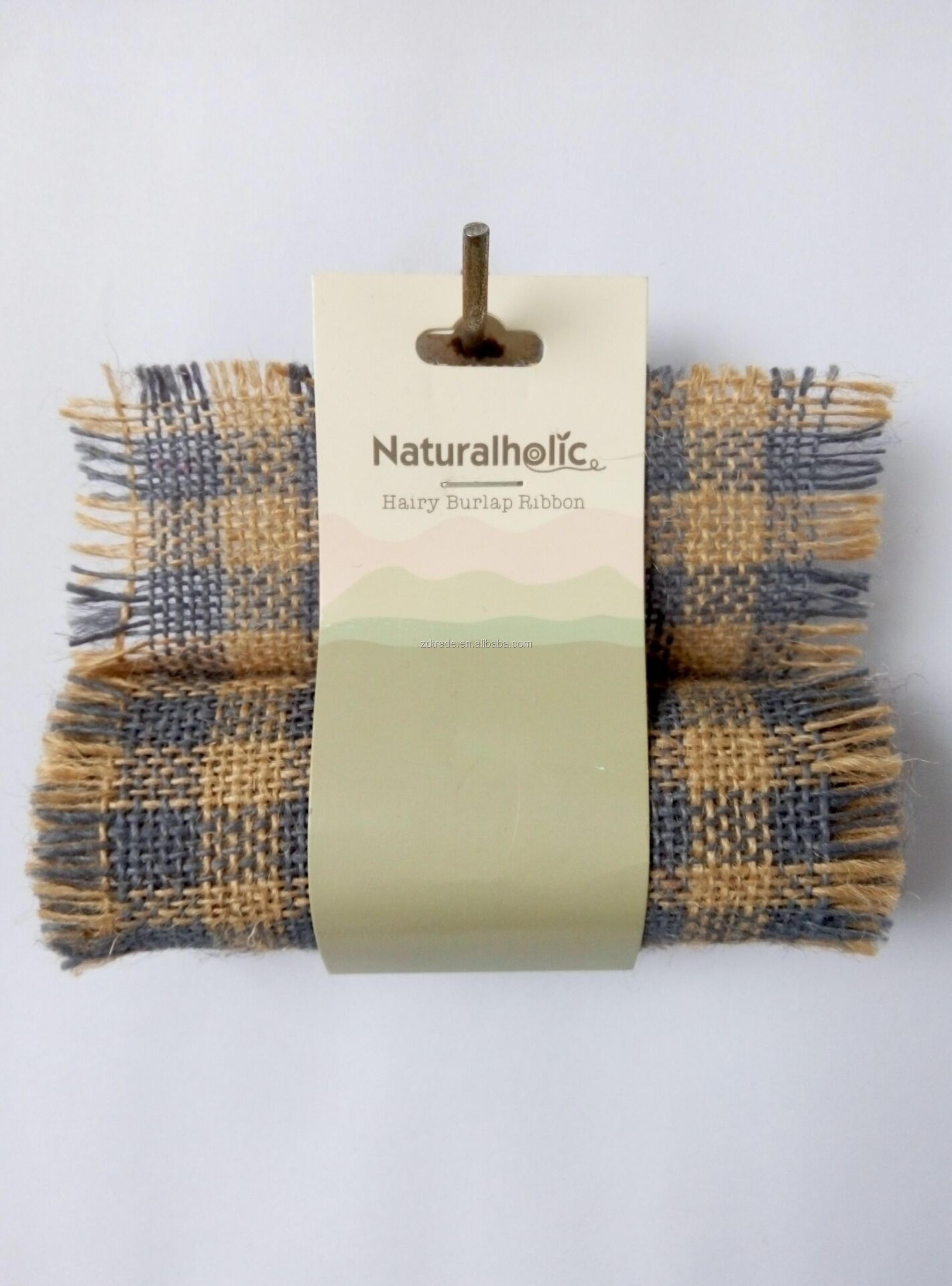 Hairy Burlap Check pattern fabric, Garden deco burlap roll