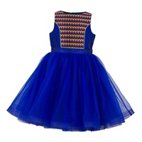 High Quality Blue & Multi Jacquard Girls Tutu Party Dress.