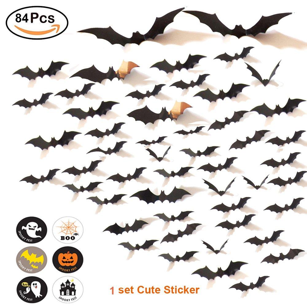 84PCS Halloween Decoration Bat 3D Wall Decal Wall Sticker + 1 Cute Halloween Sticker, Halloween Eve Party Supplies Decor Home Window Decoration Décor Set , 4 Sizes --- Arriving Before Halloween