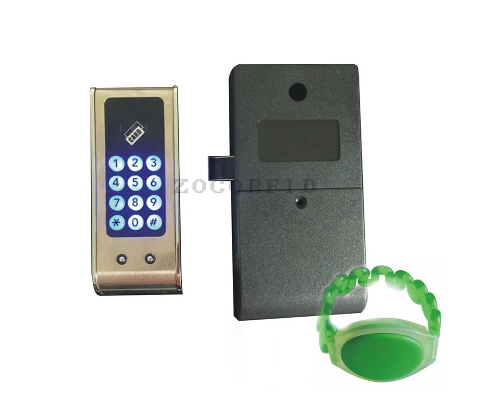 Electronic Cabinet Lock Kit Set, Digital Touch Keypad Lock, Password Entry and RFID Card / Wristband Entry+1 RFID wristband