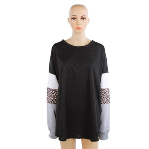 Wholesale women shirt spirit jersey with leopard sleeves