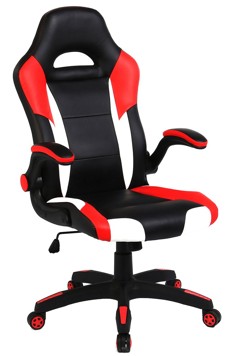 SEATZONE Racing Car Style Bucket Seat Gaming Chair, Curved High-Back Executive Swivel Office Leather Chair, Adjustable Computer Chair with Flip-Up Armrest (RedWhite)