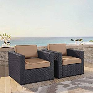 Crosley Furniture KO70103BR-MO Biscayne 2-Piece Outdoor Wicker Conversation Set, Brown with Mocha Cushions