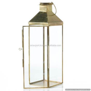 stainless steel brass plated tall glass lantern