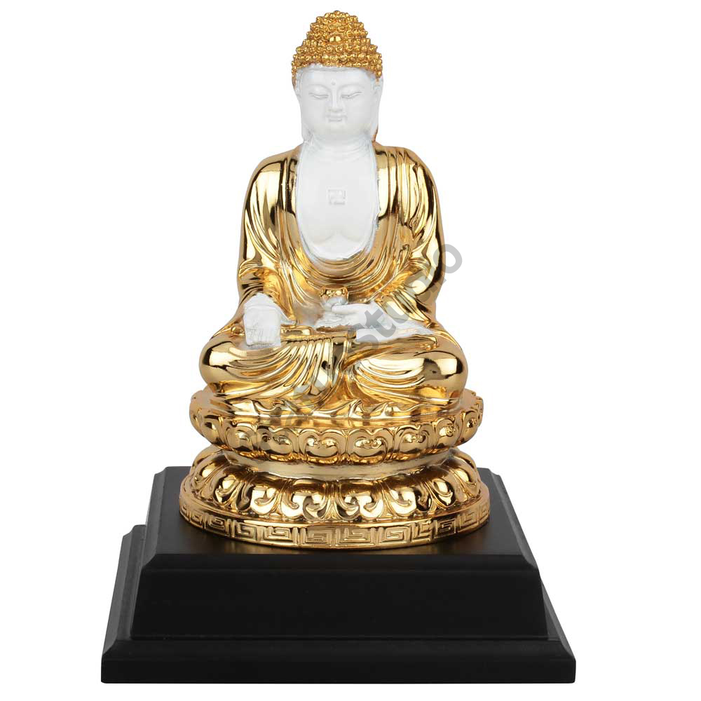 Polystone Gold Plated Buddhist Deity Buddha Home Decoravtive Idol Gift Statue 6""
