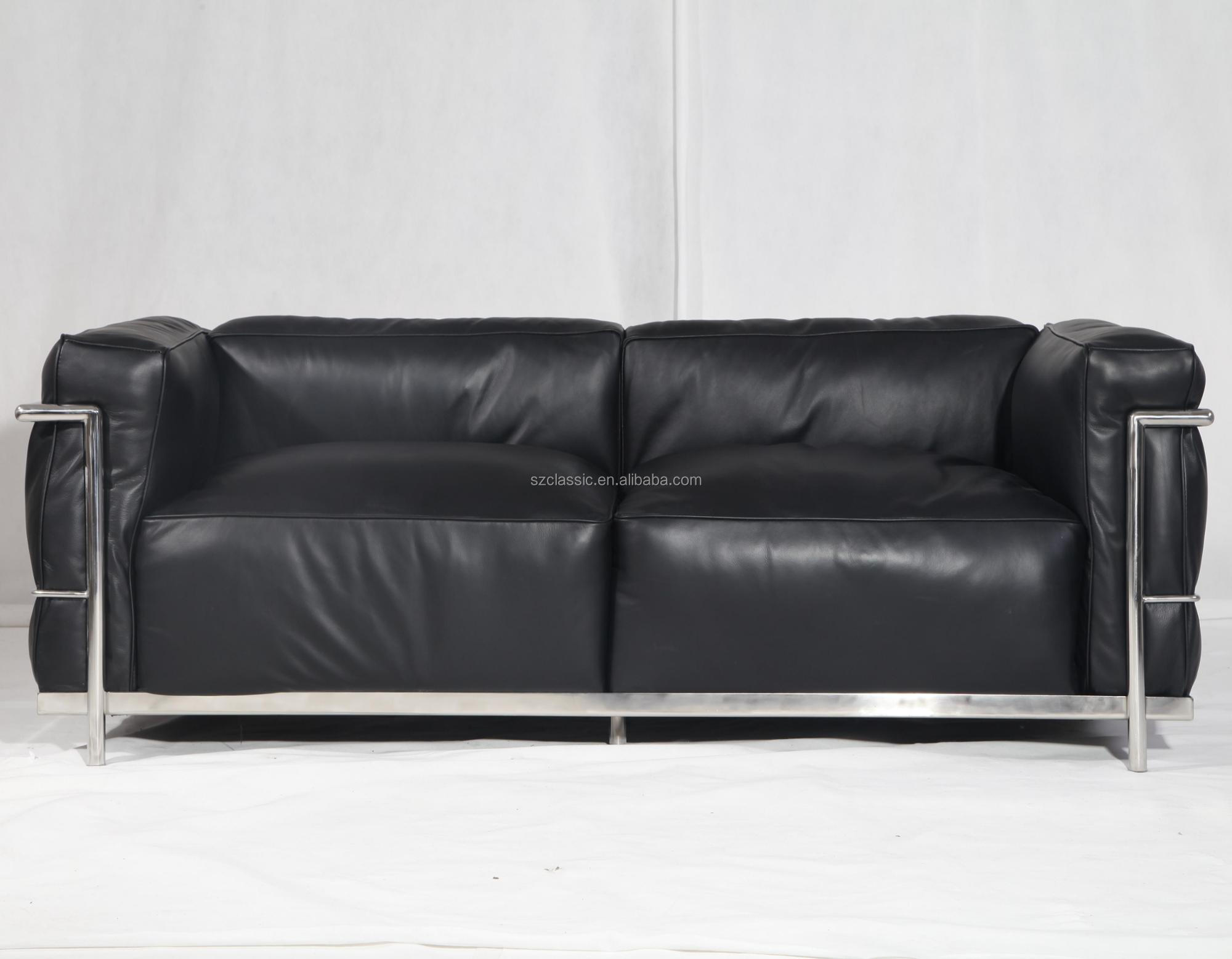 Bauhaus Style Furniture Full Grain Cow Leather Le Corbusier Lc3 Sofa