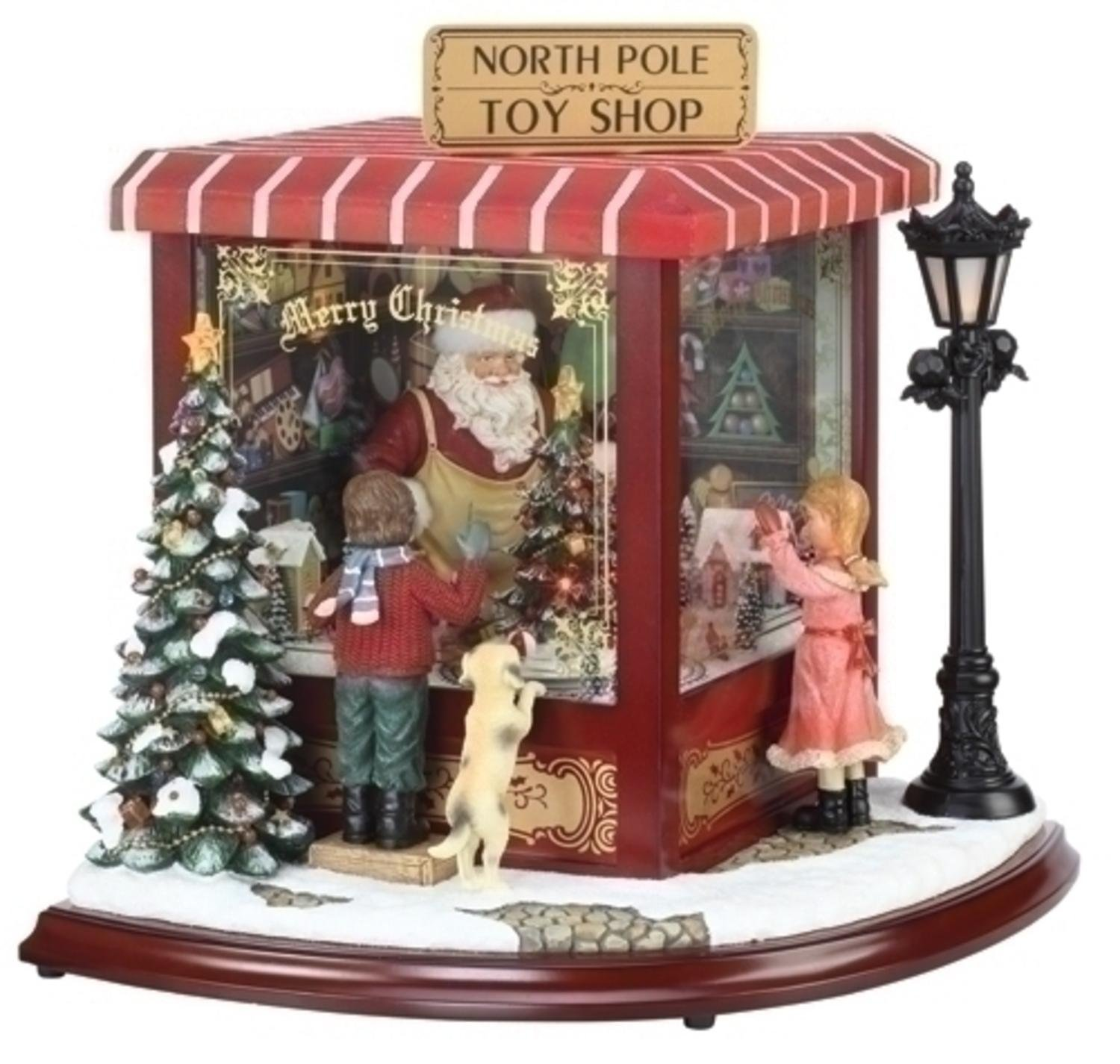 "Roman 14.5"" Amusements LED Lighted Animated & Musical North Pole Christmas Toy Shop"