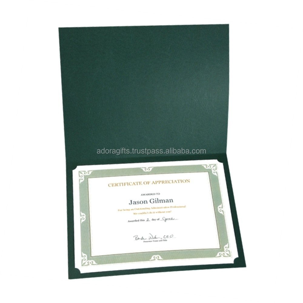 2018 cheap leather graduation diploma cover a4 file folder paper