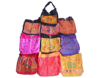 Applique work embroidery mirror work bag buy girls cosmetic bags