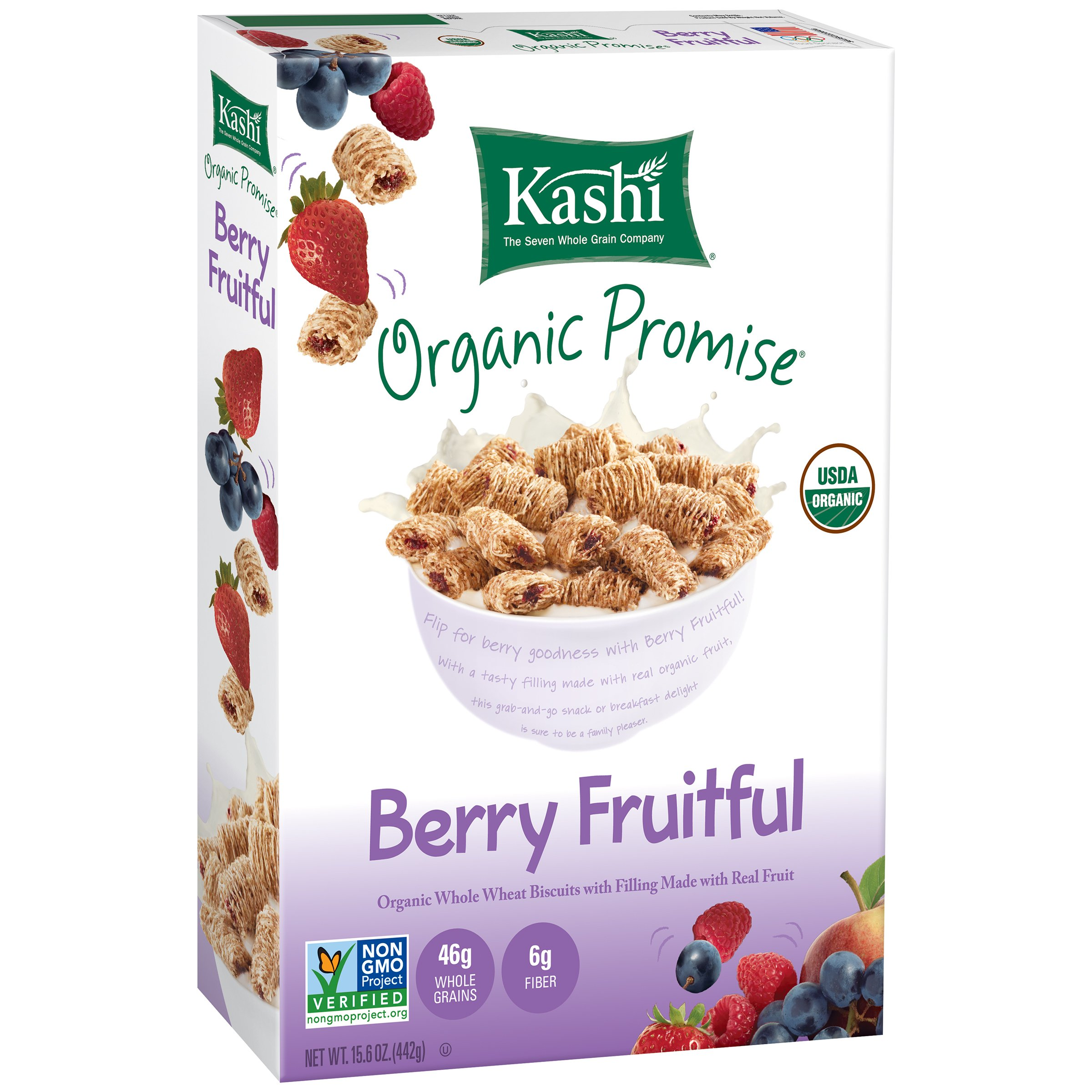 Kashi Organic Promise Cereal, Berry Fruitful Whole Wheat Biscuits, 15.6 Ounce (Pack of 12)