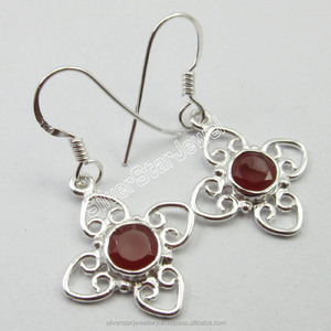 "925 Pure Silver Authentic RED CARNELIAN Gemset URBAN STYLE Ear Rings 1.3"" NEW Bride Colorful Made In India China Jewelry Import"