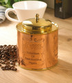 Round Coffee Box With Brass Polished Lid | round hat boxes with lids | Kitchen Decorative Small Container For Sugar