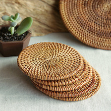 Cheap wholesale high quality rattan coasters natural rattan cup holder made in Vietnam