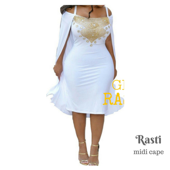 GKC Rasti Midi Cape White Gold Beads Dubai Kaftans For Women Prom Dress