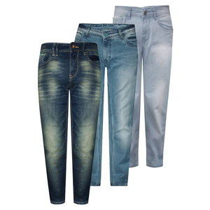 Men Plain Dyed Mid Rise Straight Fit Washed Multicolor Denim Pants