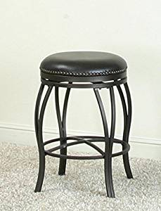 "Traditional Backless Swivel Bar Stool in Oil Rubbed Bronze and Bonded Leather Seats with Nail Heads (24"" Counter Height)"