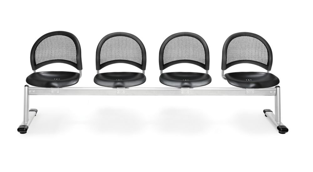 """4-Beam Seating Black Plastic/Silver Frame Dimensions: 97.75""""W x 23.50""""D x 33.75""""H Weight: 141 lbs"""