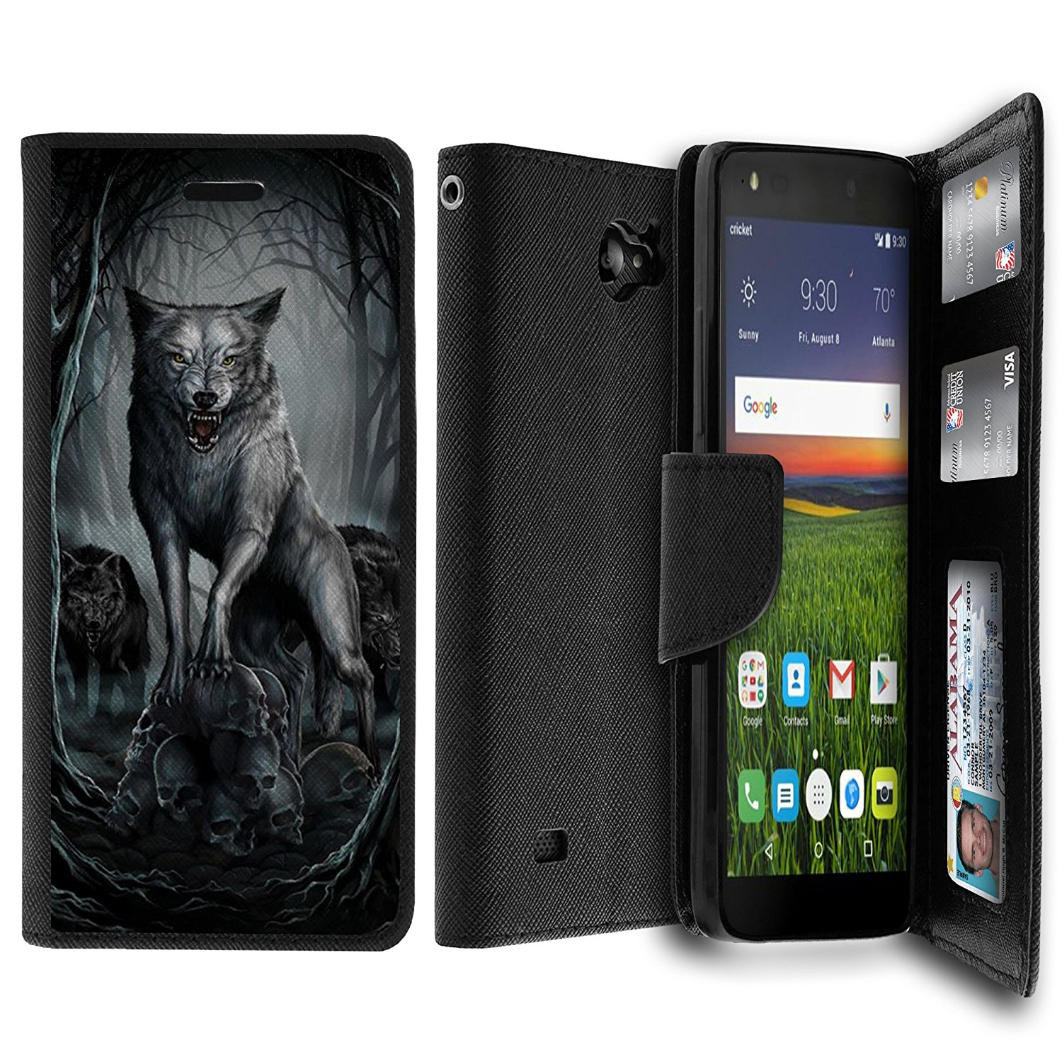 Untouchble Case for ZTE Majesty Pro Case, Majesty Pro Wallet Case[MAX WALLET] Dual Purpose Wallet Case, Phone Protector and Wallet Style Design Card ID Slot Custom Print Design - Midnight Wolf