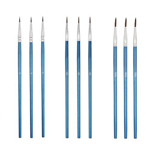 TOVOT 9 PCS Paint Brush Set Watercolor Brush detail brush for Oil / Acrylic/ Crafts paint Artist Brush(BLUE)