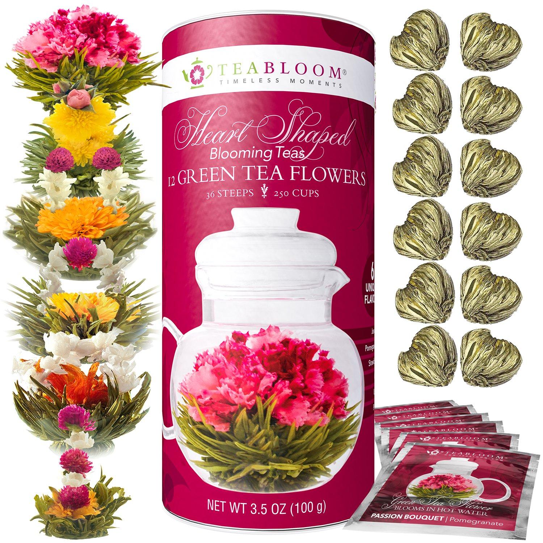 Teabloom Heart Shaped Flowering Tea – 12 Assorted Blooming Tea Flowers Gift Set – Green Tea + Jasmine, Pomegranate, Strawberry, Rose, Litchi & Peach – Unique Romantic Valentine Gift