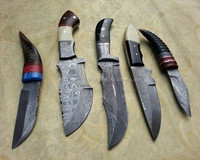 Custom made tracker and skinning knives lot of 5 pieces