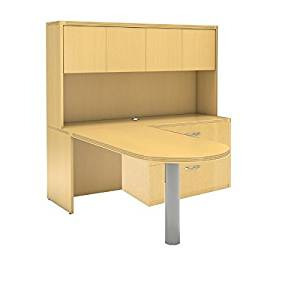 """Mayline L-Shaped Peninsula Desk W/Hutch Overall Dimensions: 72""""W X 84""""D X 68.5""""H 1 5/8"""" Thick Work Surfaces Perfect Desk For Home Office/Small Business - Maple"""