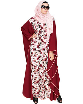 Summer Solstice Printed Wine Kaftan Trendy Muslim Kaftan Dress Dubai Islamic Clothing Muslim Dress