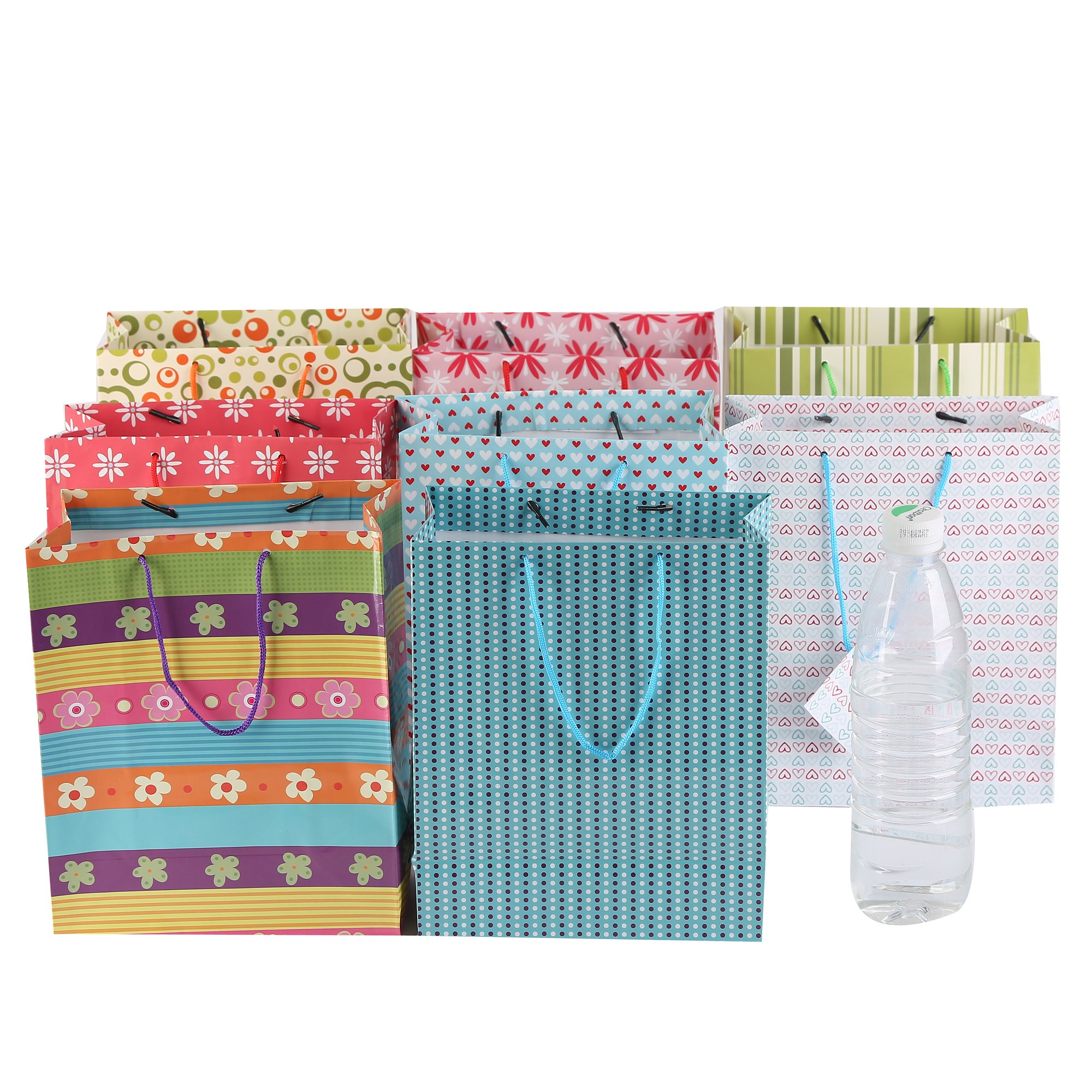 Fun Central (BC742) 60ct 9 Inch Colorful Gift Bag, Gift Bags, Gift Bag, Amazon Gift Bags, Birthday Gift Bags, Gift Bags for Kids, Wedding Gift Bags, Birthday Gift Bag, Baby Gift Bags - Assorted