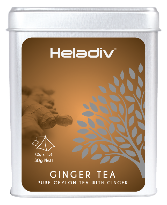 Heladiv Ginger flavoured Ceylon black tea 2g * 15 Pyramid Tea bags in Tin ISO22000