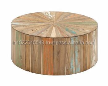 Cyrano Reclaimed Wood Round Drum Modern Eco Coffee Table