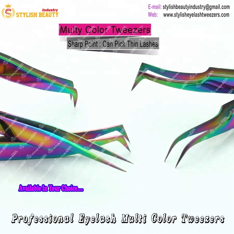 Eyelash Extension Sharped Point Tweezers / Personalized Tweezers With  Private Label Tweezers - Buy Eyelash Tweezers Multi Color,Beautifull
