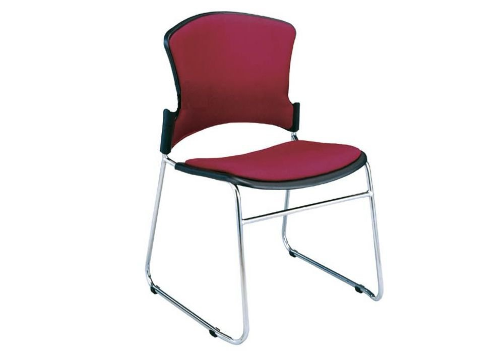 """Set of 4 Multi-Use Fabric Stack Chair Wine Fabric/Chrome Frame Dimensions: 23.75""""W x 23""""D x 33.25""""H Seat Dimensions: 18.5""""Wx17.5""""Dx18.75""""H"""