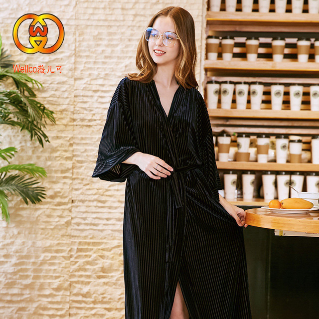 Wellco 2019 samt damen pyjamas lange robe hotel bademantel